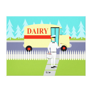 Retro Small Town Milkman Stretched Canvas Print