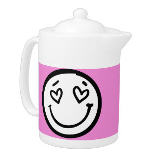 Retro Smiley Face on Pink Background