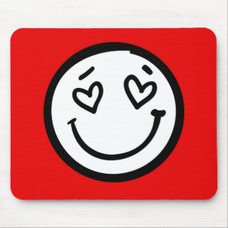 Retro Smiley Face on Red Background Mouse Pad