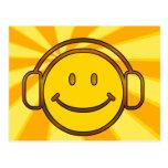 Retro Smiley Headphones Post Cards