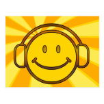Retro Smiley Headphones Postcard