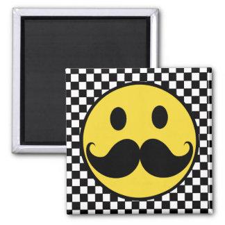 Retro Smiley Mustache Moutache w/ Checkerboard Magnet