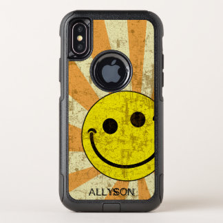 Retro Smiley Sunburst Name Template OtterBox Commuter iPhone X Case