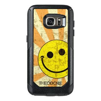 Retro Smiley Sunburst Name Template OtterBox Samsung Galaxy S7 Case