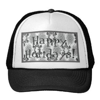 Retro Snowflake Floral Black White Trucker Hat