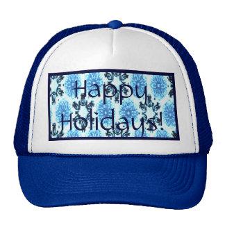 Retro Snowflake Floral Blue Trucker Hat
