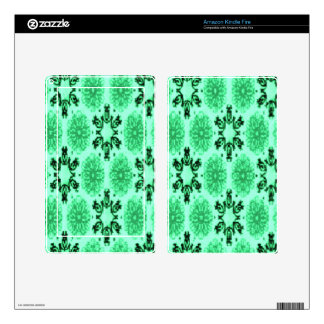 Retro Snowflake Floral Green Kindle Fire Decal