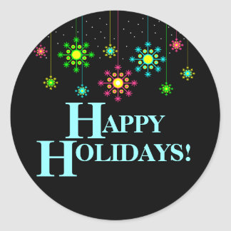 Retro Snowflake Happy Holiday Sticker