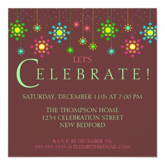 retro snowflake holiday party invitation zazzle com