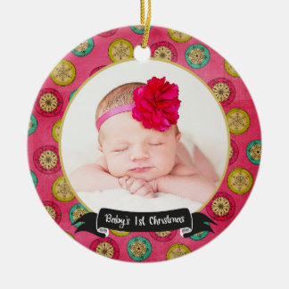 Retro Snowflakes Baby's 1st Christmas Ornament