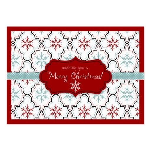 Retro Snowflakes Gift Tag 2 Business Card