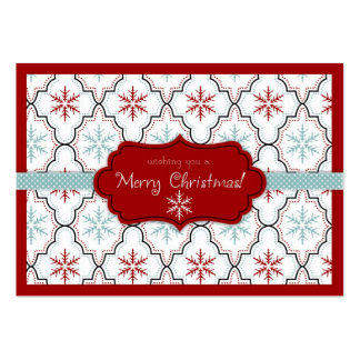 Retro Snowflakes Gift Tag 2 Large Business Cards (Pack Of 100)