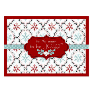 Retro Snowflakes Gift Tag Large Business Cards (Pack Of 100)