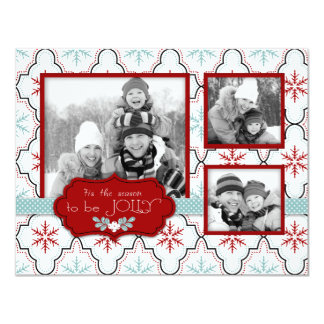Retro Snowflakes Photo Card A2