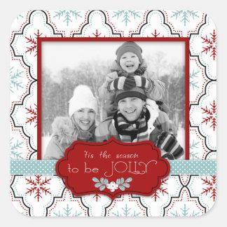 Retro Snowflakes Photo Sticker