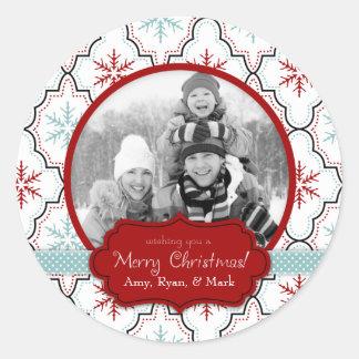 Retro Snowflakes Photo Sticker B2