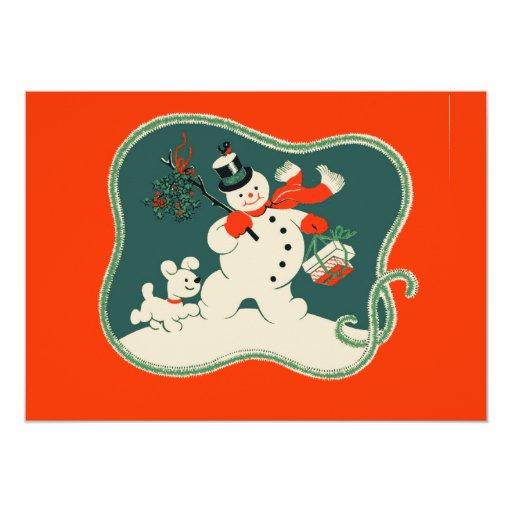 Retro Snowman 5x7 Paper Invitation Card