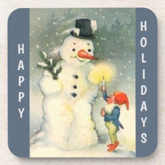 Retro Snowman and Elf Christmas Beverage Coaster