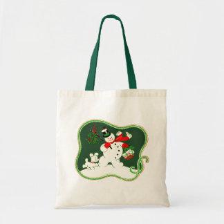 Retro Snowman Budget Tote Bag