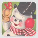 """Retro Snowman Christmas Square Sticker<br><div class=""""desc"""">Perfect Victorian sticker for your Christmas cards. Close your envelopes with a bit of Holiday Cheer with these delightful Christmas stickers.</div>"""
