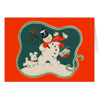 Retro Snowman Greeting Card
