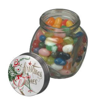 Retro Snowman on Skis Glass Candy Jars