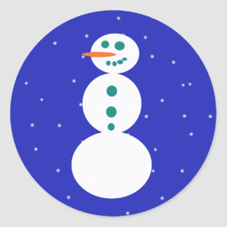 Retro Snowman Round Stickers