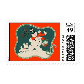 Retro Snowman Stamps