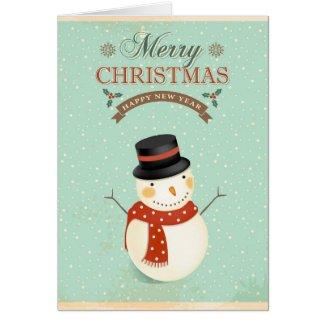 Retro Snowmen Happy New Year Merry Christmas Greeting Card