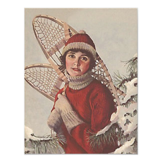 Retro Snowshoer's Winter Fun Party Invitation