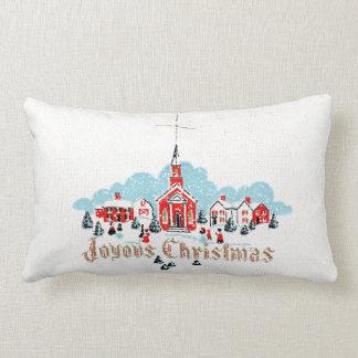 Retro Snowy Church Scene White Christmas Lumbar Pillow