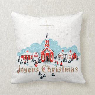Retro Snowy Church Scene White Christmas Throw Pillow