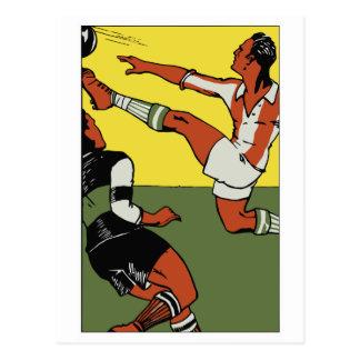 Retro soccer championship ad postcard