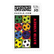 Retro SOCCER Themed Postage Stamp