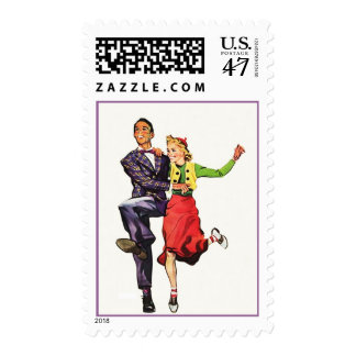 Retro Sock Hop Dancers Mid-century Postage Stamps
