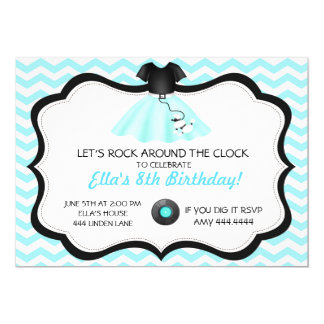 Retro Sock Hop Poodle Skirt Birthday Invitations
