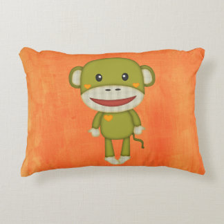 Retro Sock Monkey Accent Pillow