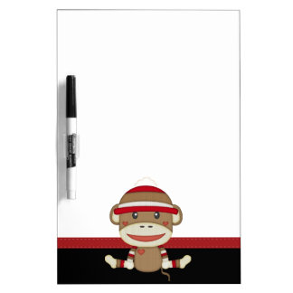 Retro Sock Monkey Dry Erase White Board