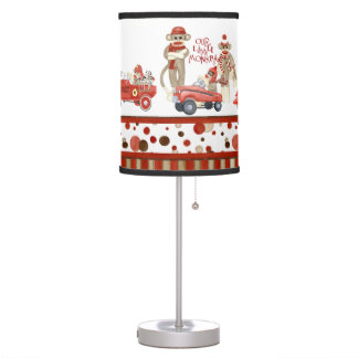 Retro Sock Monkey Fire Truck Car Polka Dots Table Lamp