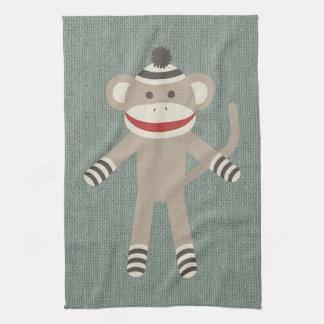 Retro Sock Monkey Kitchen Towel