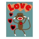 Retro sock monkey LOVE Postcard