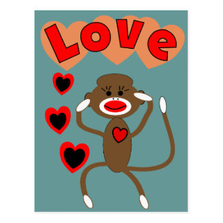 Retro sock monkey LOVE Postcard