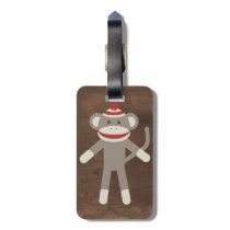 Retro Sock Monkey Luggage Tag