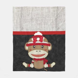 Retro Sock Monkey Fleece Blanket