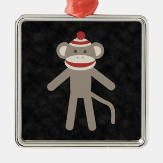 Retro Sock Monkey Square Metal Christmas Ornament