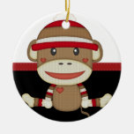 Retro Sock Monkey Double-Sided Ceramic Round Christmas Ornament