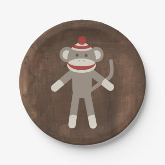 Retro Sock Monkey Paper Plate