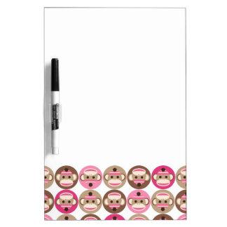 Retro Sock Monkey Pattern Dry Erase Whiteboards