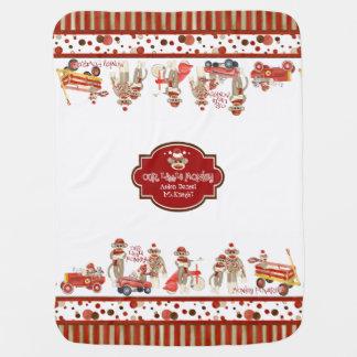 Retro Sock Monkey Red Wagon Car Truck Baby Boy Swaddle Blanket