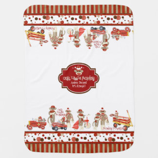 Retro Sock Monkey Red Wagon Car Truck Baby Boy Stroller Blanket